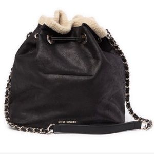 Steve Madden Bucket Faux Fur Lined Bag New